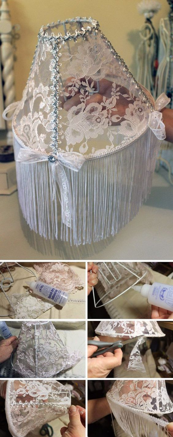 DIY Shabby Chic Lace Lampshade: