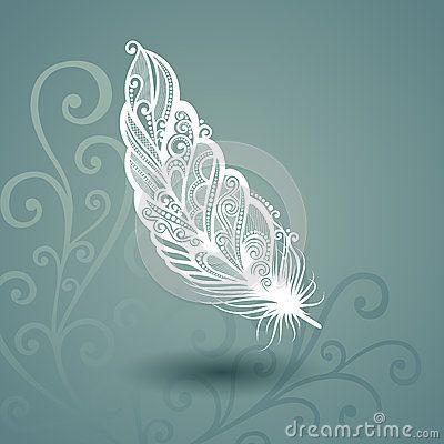 Calibre avec la plume sans paire à l arrière-plan fleuri
