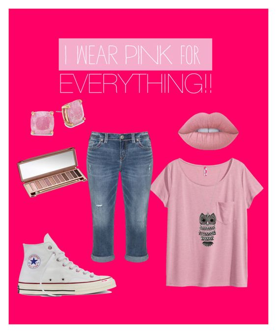 """Pink"" by gracief-9 on Polyvore featuring Kate Spade, H&M, Silver Jeans Co., Mudd, Urban Decay, Converse, Lime Crime and IWearPinkFor"