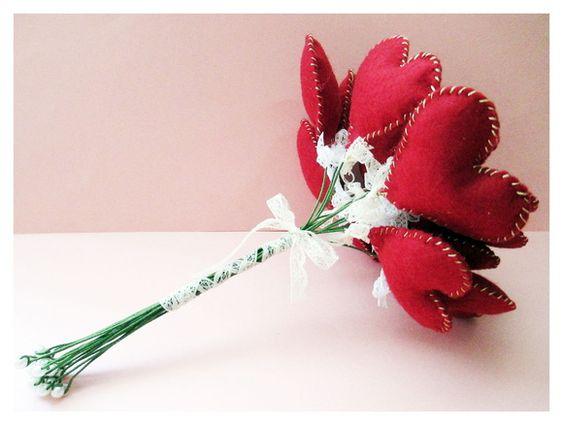Bouquet de Feltro Corações - Buquê