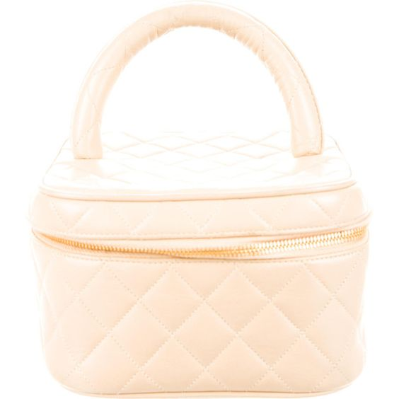 Pre-owned Chanel Quilted Leather Vanity Case ($535) ❤ liked on Polyvore featuring beauty products, beauty accessories, bags & cases, neutrals and chanel