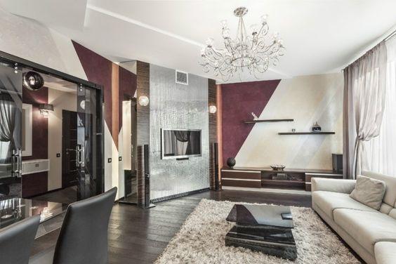 Wohnzimmerwände gestalten ~ Wohnzimmerwände mit farbe gestalten schräge streifen mit