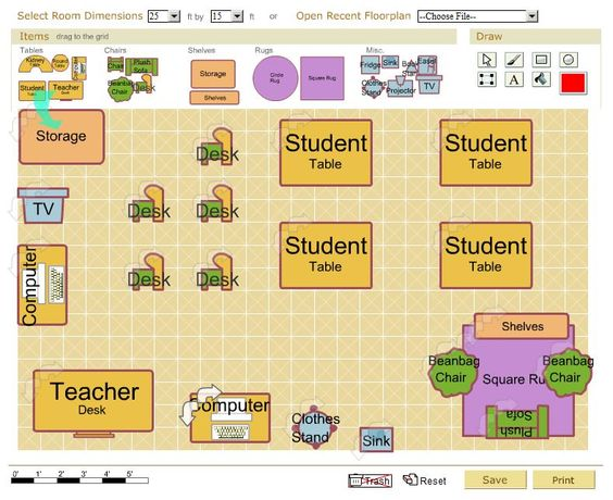 Classroom Design Printable : Free classroom architect tool design your