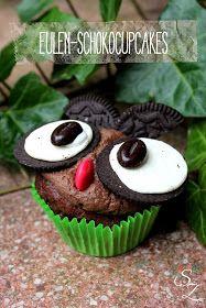 Schokokuss und Zuckerperle: Eulen-Schokocupcakes