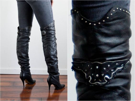 Vintage 1980's Black Over the knee High Heel Leather Motorcycle ...