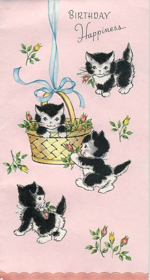 "vintage ""Birthday Happiness"" cats"