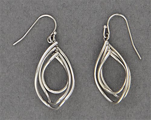 Simply Whispers jewelry pierced earrings silver French hook with three twisty wire drops