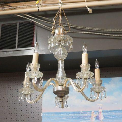 Sale now 500 orig 695 gorgeous 5 arm vintage cut glass crystal gorgeous 5 arm vintage cut glass crystal chandelier 500 chandeliers pinterest vintage furniture and chandeliers aloadofball Images