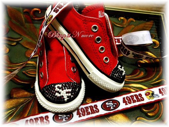 49ers converse shoes with swarovski crystals on etsy 90