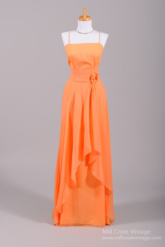 COMPLETELY LOVE this dress for prom!  Fantastic Color.  1970 Tangerine Chiffon Vintage Evening Gown