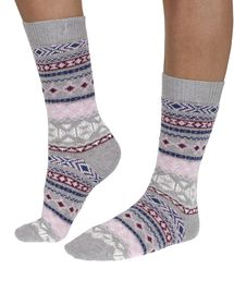 Nera women's organic cotton and wool crew socks in soft grey   By Braintree