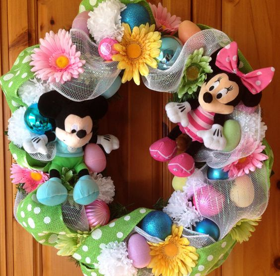 Disney Inspired Mickey and Minnie Mouse Easter/Spring Decorative Wreath from WreathsWithCharacter @ etsy