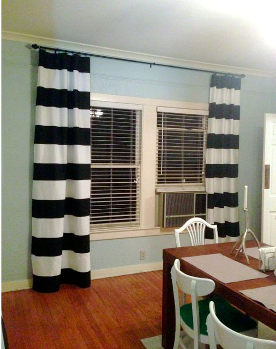 Black and white striped curtains living room pinterest master bedrooms mint walls and the for Black and white striped bedroom curtains