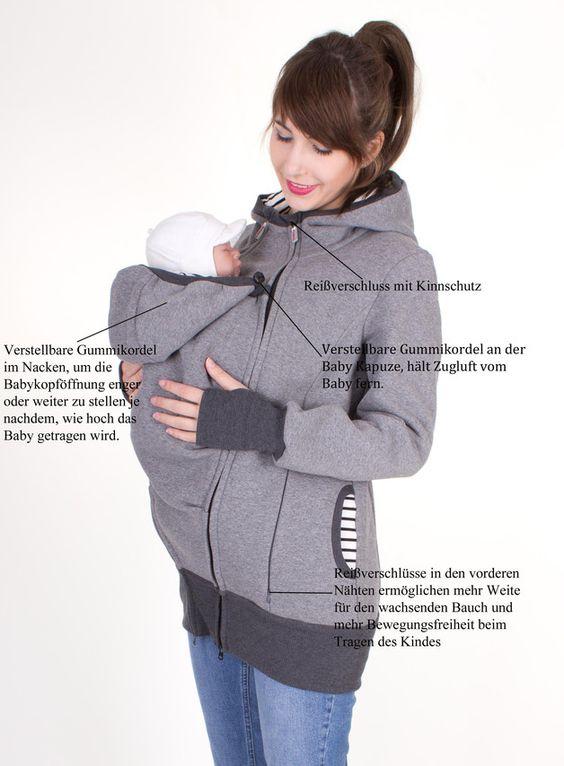 Tragetücher & Mei Tai - Lumi Sweat Tragejacke für zwei graumeliert gestrei - ein Designerstück von AgnesH bei DaWanda