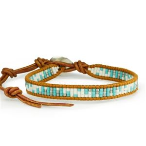 Leather Bracelet With Turquoise Mixed Seed Beads and Sterling Silver Button Closure.