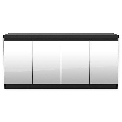 Manhattan Comfort Viennese 2 0 Mirrored Buffet Cabinet In Black