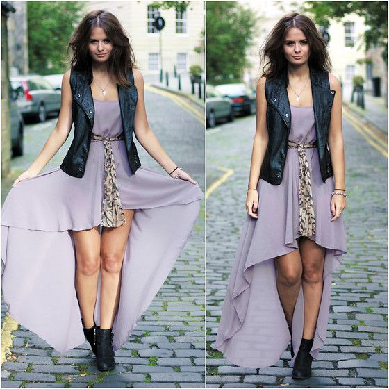 asymmetrical dress + leather vest & boots