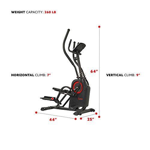 Sunny Health Fitness Premium Cardio Climber Stepping Elliptical Machine Cardio At Home Vigorous Workout Step Machine