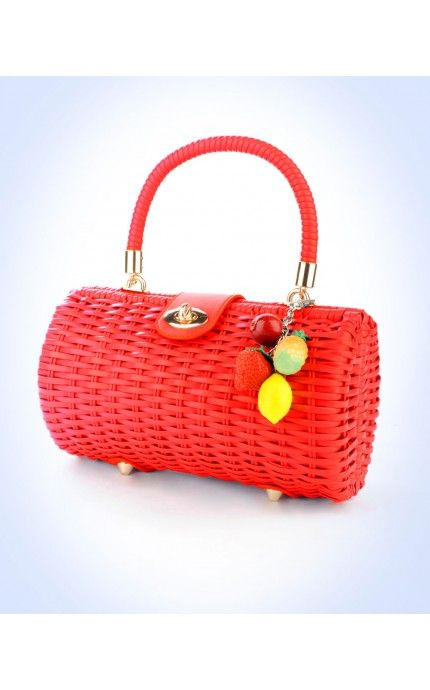 Wicker Baguette Purse in Red with Fruit Charm   Pinup Girl Clothing