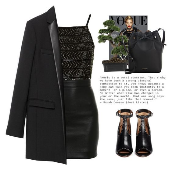 """""""- Come in -"""" by lolgenie ❤ liked on Polyvore featuring Topshop, Balmain, Nearly Natural, Zara, Mansur Gavriel and Givenchy"""