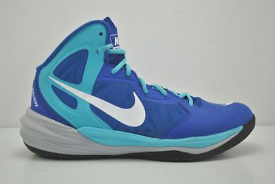 Nike Prime Hype DF Basketball Shoes Size 7.5 Blue White Grey Team Sports