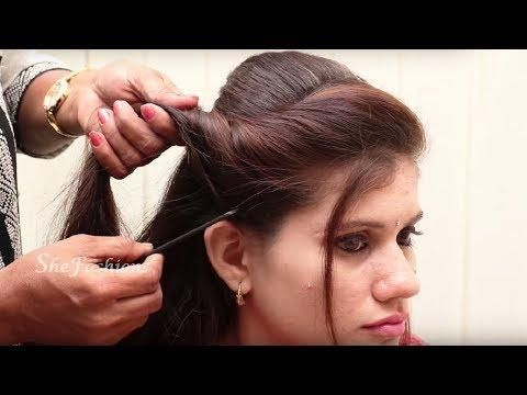 Side Puff Hairstyle For Long Hair Easy Side Puff Hairstyles Hairstyle Tutorial Video Hair Puff Medium Hair Styles Hair Styles