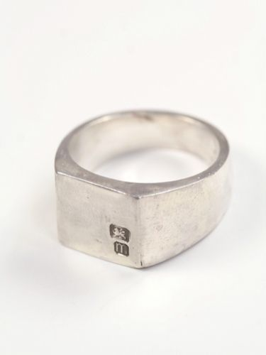 Square signet Ring with Date Letter in sterling silver
