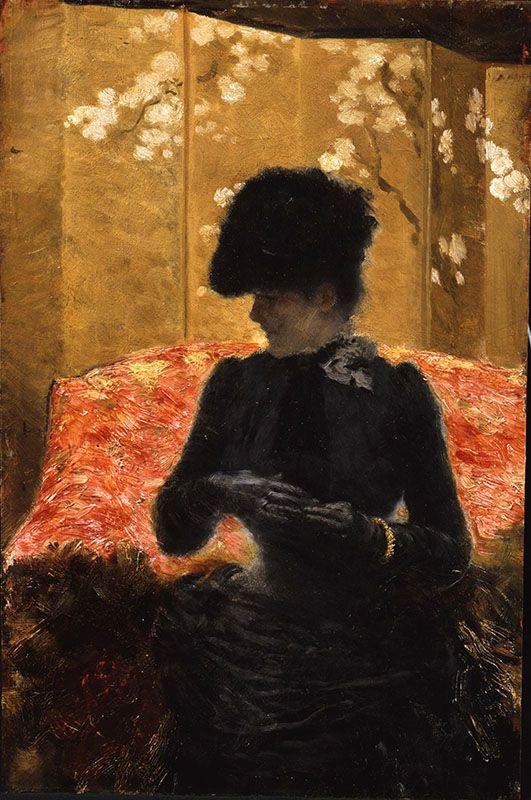 Lady on a Red Sofa Giuseppe de Nittis - 1883