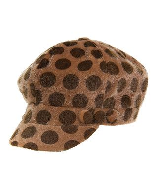 Camel Faux Fur Polka Dot Newsboy Cap