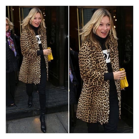 Kate Moss's Leopard-Print Coat Could Change Your Winter Wardrobe ❤ liked on Polyvore