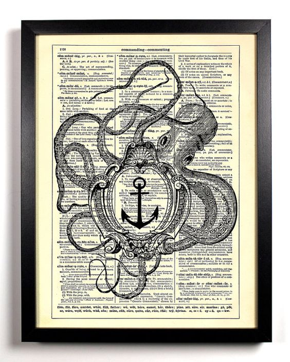 Repurposed Book Upcycled Dictionary Art Vintage Book Print Recycled Vintage Dictionary Page Octopus Holding A Frame Buy 2 Get 1 FREE. $6.99, via Etsy.