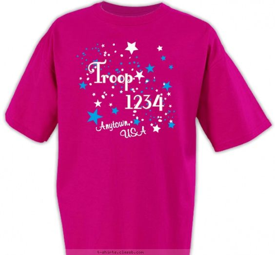 shirt white ink blue stars troop 1114 girl scouts girl scout troop