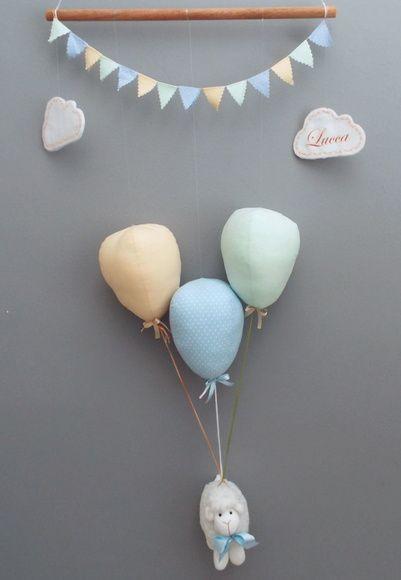 Móbile Ovelha suspensa por balões móbile de teto, decoração de quarto de bebê…