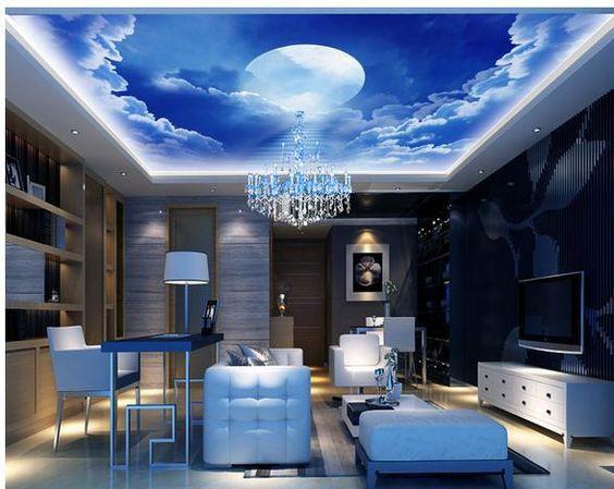 New large wallpaper custom wallpaper blue sky clouds moon for Blue moon mural