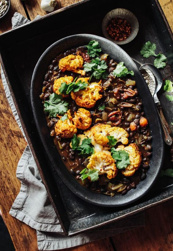 Spiced Black Beans with Turmeric Roast Cauliflower - Rebel Recipes
