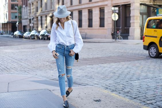 Balloon Sleeve Top and GRLFRND Ripped Jeans