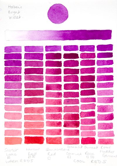 Holbein Bright Violet Chart (Reds) | Watercolor Tips ...