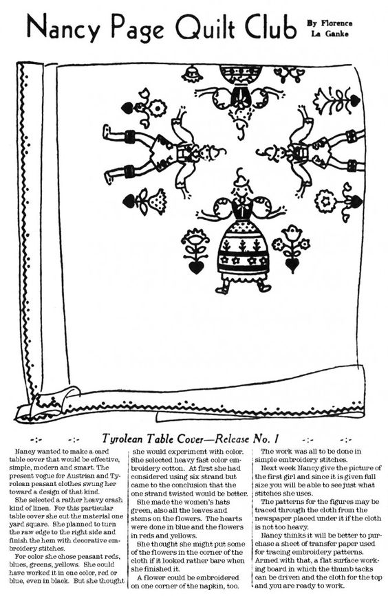Nancy Page Tyrolean Table Cover, 1937