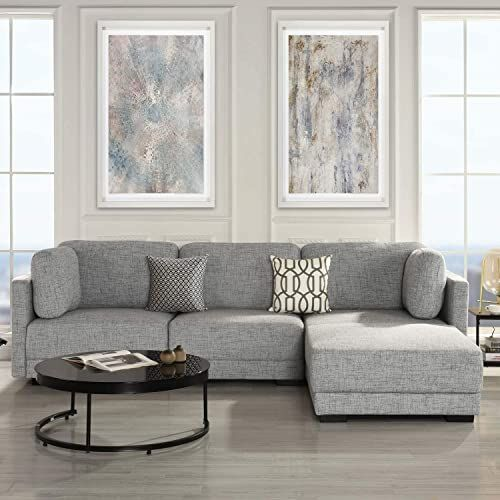 Buy Casa Andreamilano Exp402 Lgy Modular Convertible Reversible 3 Piece Custom Couch Feature Modern L Shaped Sectional 2pc Loveseat Chaise Ottoman Sofa Ligh In 2020 Custom Couches Sectional Sofa Couch Living Room Grey