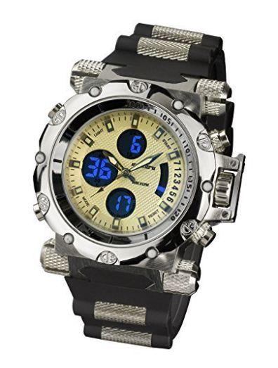 INFANTRY® Night Vision Air Force Mens Army Sport Dual Cores Quartz Wrist Watch Black Rubber Strap