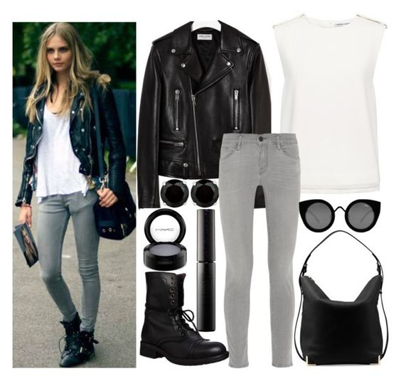 """""""cara inspired"""" by j-n-a ❤ liked on Polyvore featuring BillyTheTree, Surratt, Yves Saint Laurent, MAC Cosmetics, Finders Keepers, Frame Denim, Steve Madden, Alexander Wang and Quay"""