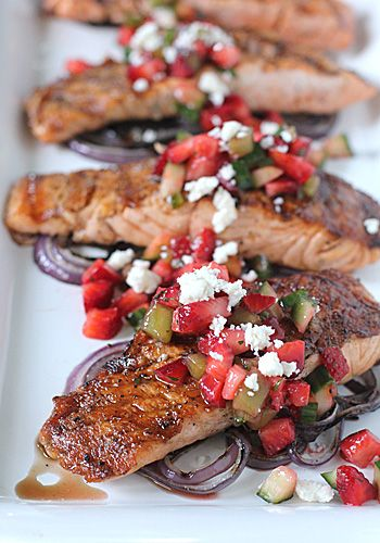 Grilled Salmon and Red Onion with Strawberry Salsa