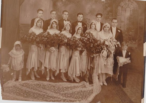 Antique Photograph Wedding Bride Groom Wedding Party Gorgeous Flowers