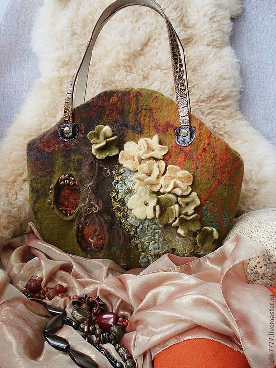 """Купить Сумка валяная """"Джунгли. Возрождение."""" - хаки, валяная сумка, женская сумка, оранжевый"""