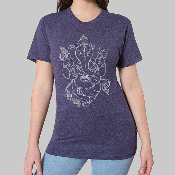 Yoga Kleidung  Ganesh Yoga Tee Ganesha-Shirt von MadMoonClothing
