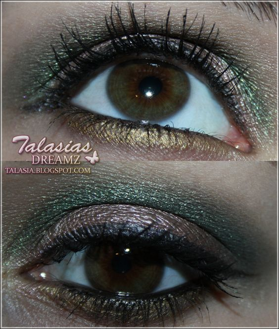 Green Brown Eye Make Up - Datum: 05.01.2012  http://talasia.blogspot.de/2012/01/amu-cheesnut-freeze-jungle-green.html