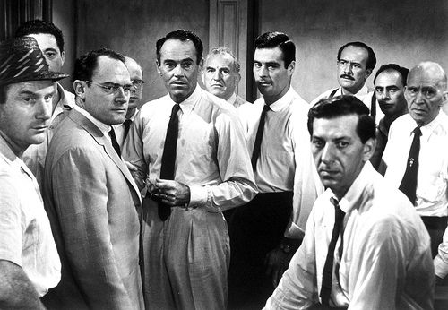 12 Angry Men (1957) - A dissenting juror in a murder trial slowly manages to convince the others that the case is not as obviously clear as it seemed in court. All time favorite movie to watch.
