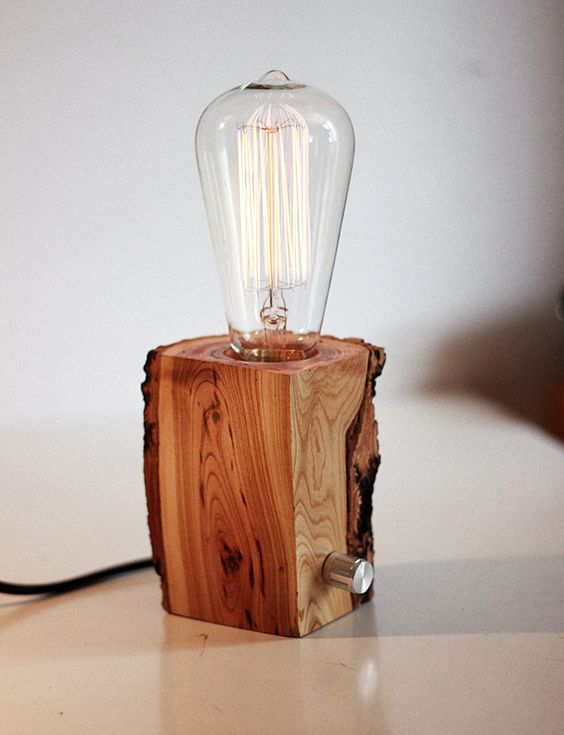 Wood Desk Hand Made And Edison Lamp On Pinterest