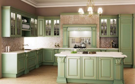 #traditional #kitchendesign #led slim puck lights in the glass cabinets