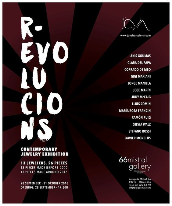 "OFF JOYA 2016 - ""R-EVOLUTIONS"" Contemporary jewellery exhibition. 66 Mistral Gallery"